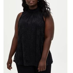 NWT Torrid 4X Lovely Black Lace Mock Neck Blouse